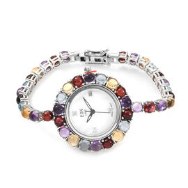 EON 1962 Multi Gemstone (25.00 Ct) Bracelet Watch (Size 7) in Platinum Overlay Sterling Silver, Silv
