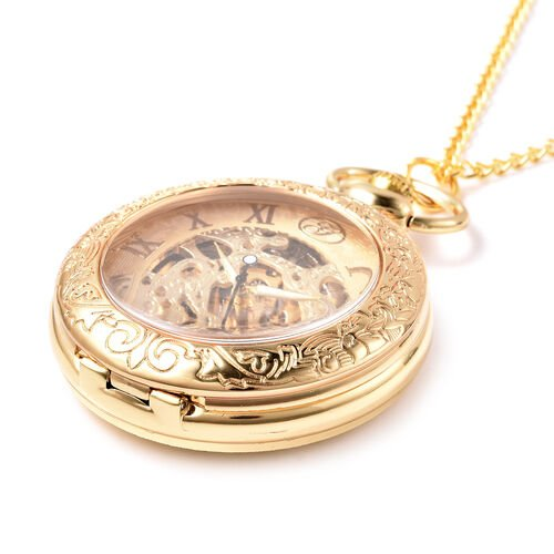 GENOA Automatic Mechanical Skeleton Pocket Watch with Chain in Gold Tone