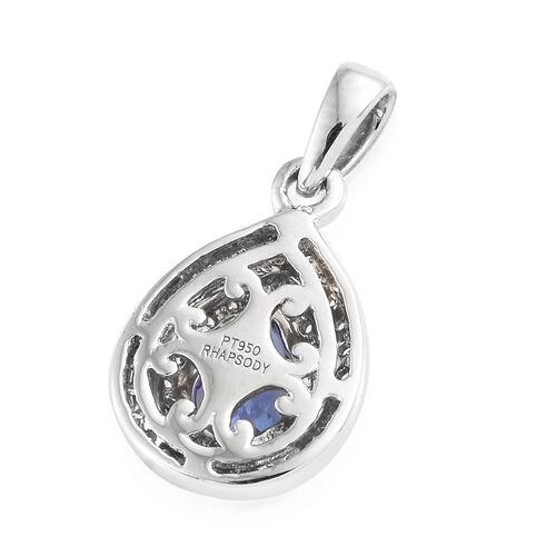 Rhapsody AAAA Tanzanite (0.66 Ct) and Diamond (VS/E-F) 950 Platinum Pendant  0.900 Ct