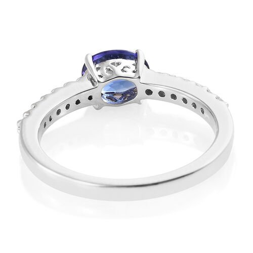 RHAPSODY 950 Platinum AAAA Tanzanite (Ovl) (VS/E-F) Diamond Ring 1.000 Ct.