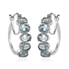 Sky Blue Topaz Hoop Earrings (with Clasp) in Stainless Steel 4.00 Ct.