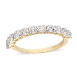 ILIANA 18K Yellow Gold Natural Diamond (SI/G-H) Half Eternity Ring 1.00 Ct.