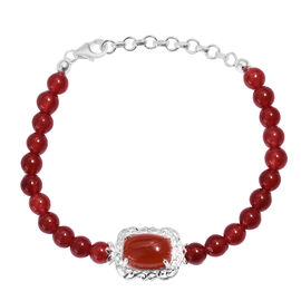 One Time Deal - Red Onyx (Cush 6.50 Ct) Bracelet (Size 7.5) in Sterling Silver 62.50 Ct.