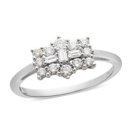 ILIANA 18K White Gold IGI Certified Diamond (Bgt and Rnd) (SI /G-H) Boat Cluster Ring 0.508 Ct.