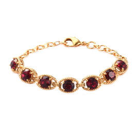 J Francis Crystal from Swarovski Ruby Colour Crystal Bracelet (Size 7.5 with Extender) in 18K Yellow