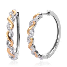 0.25 Carat Diamond Twisted Hoop Earrings in Two Tone Plated Sterling Silver 4.24 Grams