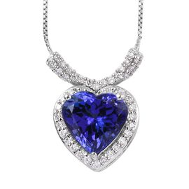 RHAPSODY 950 Platinum AAAA Tanzanite and Diamond (VS /E-F) Heart Pendant with Chain (Size 8.5) 2.00