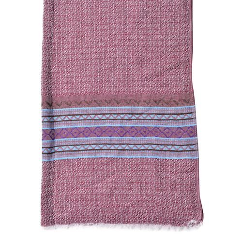 New Season-Red, Blue and Multi Colour Zigzag Pattern Scarf with Fringes (Size 180X65 Cm)