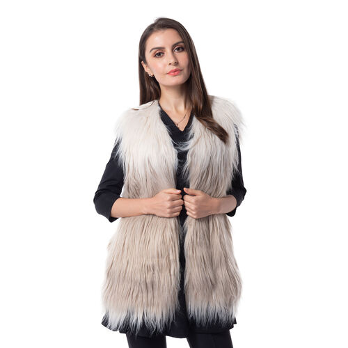 Designer Inspired - Off White and Dark Grey Colour faux Fur Vest (Size 70x50 Cm)