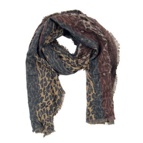 100% Merino Wool Leopard Pattern Chocolate, Blue and Multi Colour Jacquard Scarf with Fringes (Size 180x70 Cm)