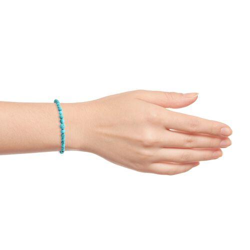 Arizona Sleeping Beauty Turquoise Adjustable Bead Bracelet (Size 7.5) in Platinum Overlay Sterling Silver 26.850 Ct.