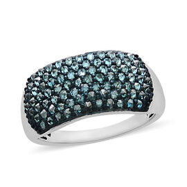 1 Carat Blue Diamond Cluster Ring in Sterling Silver 3 Grams
