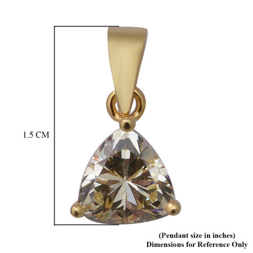 ELANZA Swiss Star Simulated Canary Diamond Pendant in Yellow Gold Overlay Sterling Silver