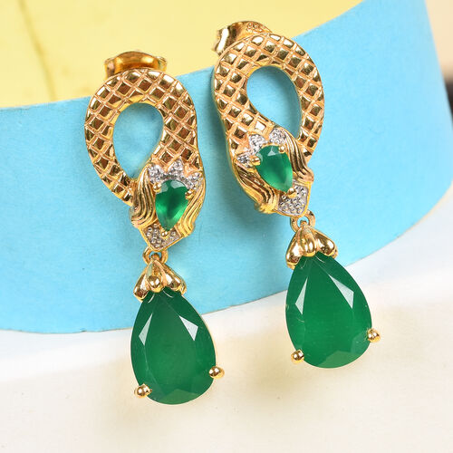 Verde Onyx Snake Drop Earrings (with Push Back) in 14K Gold Overlay Sterling Silver 4.50 Ct, Silver wt 6.98 Gms