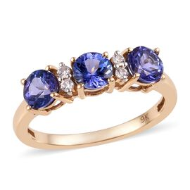 1.13 Ct Tanzanite and Zircon Trilogy Ring in 9K Gold 1.88 Grams