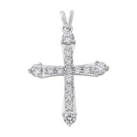ELANZA Simulated Diamond (Rnd) Cross Pendant in Rhodium Overlay Sterling Silver