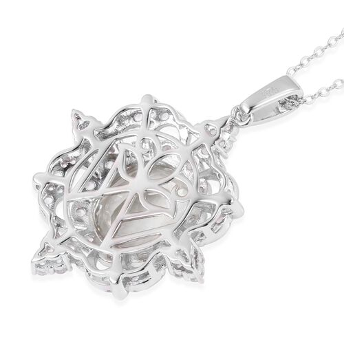 Green Amethyst (Ovl 8.00 Ct), White Topaz Pendant with Chain  in Rhodium Overlay Sterling Silver 10.030 Ct. Silver wt 6.20 Gms.