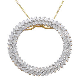 Designer Inspired - Firecracker Diamond (Bgt) Circle Pendant With Chain in 14K Gold and Platinum Ove
