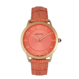 Bertha Abby Women's Watch in Coral Genuine Leather Strap