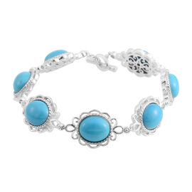 Designer Inspired- Arizona Sleeping Beauty Turquoise (Ovl 12x10 mm), Indian Garnet Bracelet (Size 7.