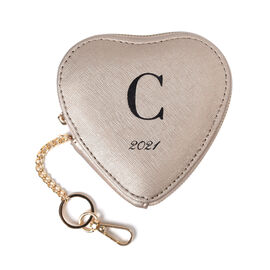 100% Genuine Leather C Initial Heart Shape Coin Card / Purse with Key Chain in Gold Colour (Size 12x
