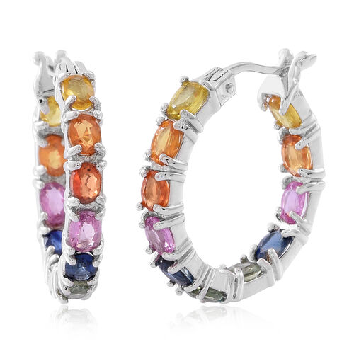 Rainbow Sapphire (Ovl) Hoop Earrings (with Clasp) in Rhodium Plated Sterling Silver 5.500 Ct. Silver wt 5.50 Gms.