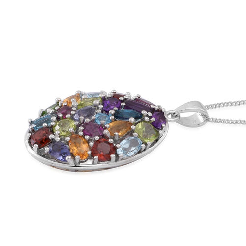 AA Lusaka Amethyst (Cush), Sky Blue Topaz, Mozambique Garnet, Hebei Peridot, London Blue Topaz, Rhodolite Garnet and Multi Gem Stone Pendant With Chain in Rhodium Plated Sterling Silver 6.060 Ct.