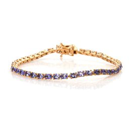 7 Carat Tanzanite Tennis Bracelet in 14K Gold Plated Sterling Silver 8 Grams 7.5 Inch