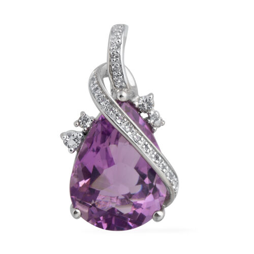 Amethyst (Pear), White Topaz Pendant in Rhodium Plated Sterling Silver 6.759 Ct.