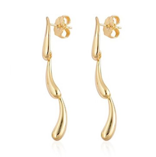 Lucy Q Yellow Gold Overlay Sterling Silver Dripping Earrings, Silver wt 8.44 Gms.