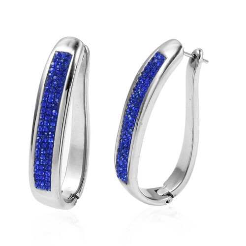 Sapphire Colour Crystal (Rnd) Hoop Earrings (with Clasp) in Stainless Steel