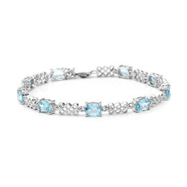 8.37 Ct Sky Blue Topaz Celtic Knots Inspired Bracelet in Rhodium Plated Sterling Silver 7.5 Grams