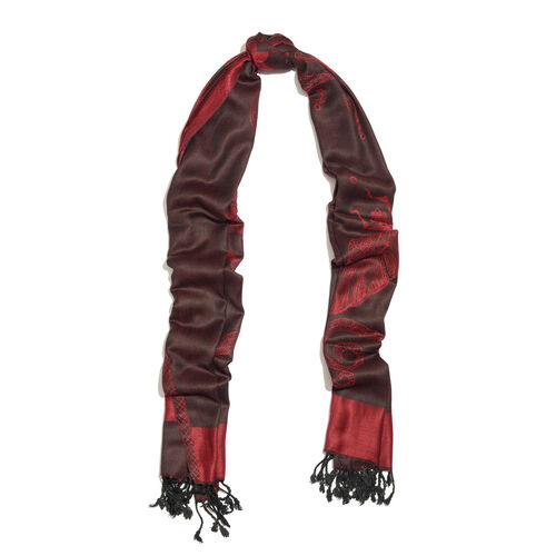 Burgundy and Black Colour Dragonfly and Floral Pattern Jacquard Scarf with Tassels (Size 190X70 Cm)