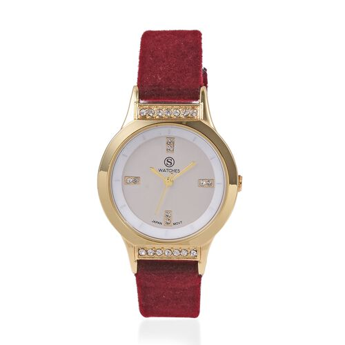 New Season-STRADA Japanese Movement White Austrian Crystal Studded Water Resistant Watch in Gold Ton