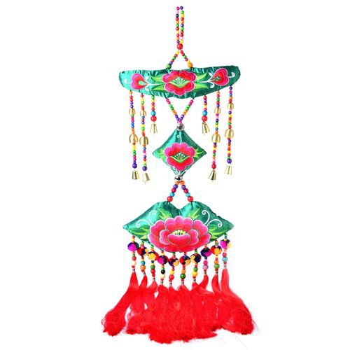Shanghai Collection - Handmade Floral Embroidery Wall Hanging (Size 112x37 Cm)