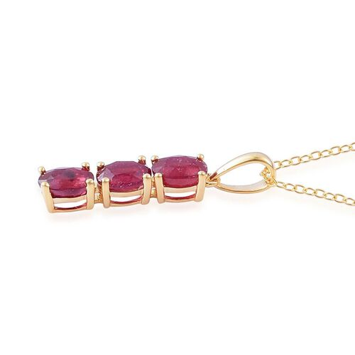 African Ruby (Ovl) Trilogy Pendant With Chain in 14K Gold Overlay Sterling Silver 2.250 Ct.