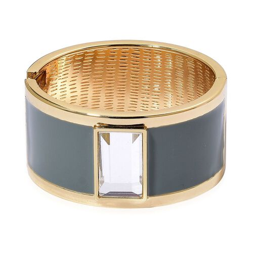 Designer Inspired - Simulated Diamond Grey Colour Enameled Bangle (Size 6.5) in Gold Tone