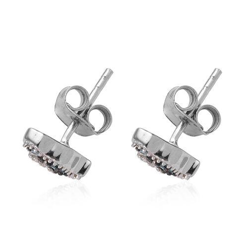 Blue Diamond (Bgt), Diamond Stud Earrings (with Push Back) in Platinum Overlay Sterling Silver 0.050 Ct.