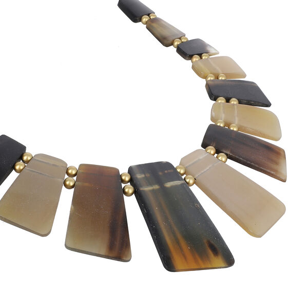 100% Genuine Natural Brown & Black Buffalo Horn Necklace (Size 20 )