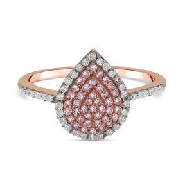 9K Rose Gold Natural Pink Diamond and White Diamond (I3) Ring 0.50 Ct.
