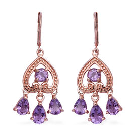 Rose De France Amethyst (Pear and Rnd) Earrings in Rose Gold Overlay Sterling Silver 4.950 Ct.