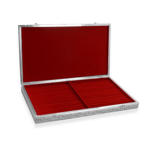 Peacock Embossed Ring Storage Box with Red Velvet Lining (Size 56x33x5 Cm)