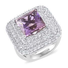 AA  Anahi Ametrine (Sqr 4.750 Ct), Natural White Cambodian Zircon Cluster Ring in Platinum Overlay Sterling Silver 6.750 Ct, Silver wt 6.82 Gms.