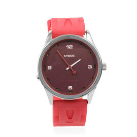 KYBOE Japanese Movement 100M Water Resistant Rose Gold LED Watch in Stainless Steel and Red Strap