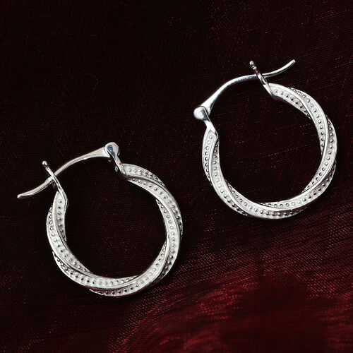Diamond Hoop Earrings (with Clasp) in Sterling Silver