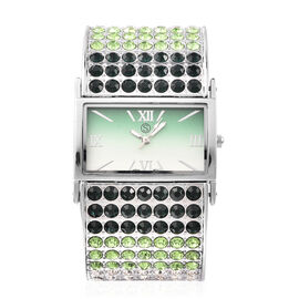 STRADA Japanese Movement Dark Green, Green and White Crystal Bangle Watch (Size 6.5-7) in Silver Ton