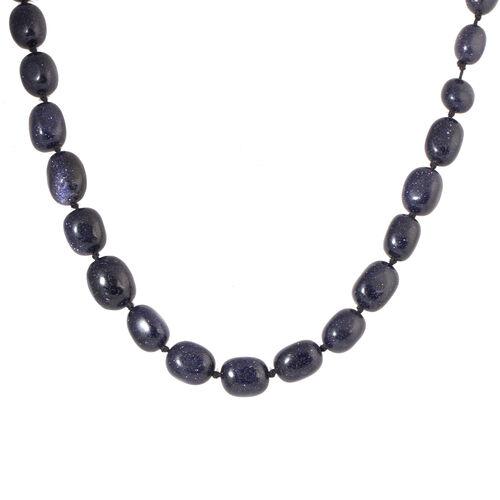 One Time Mega Deal-Rare Size Blue Sandstone Adjustable Beads Necklace (Size 20 - 32)