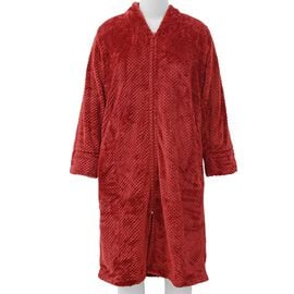Microfibre Soft Jacquard Flannel Robe with Pocket and Zip-Front (Size 60x116 Cm) - Red
