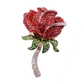 Multi Colour Austrian Crystal Rose Design Brooch in Rose Tone