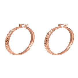 Rose Gold Overlay Sterling Silver Hoop Earrings (with Clasp)